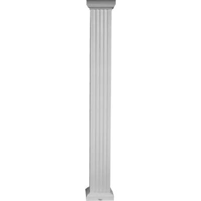 Crown Column 6 In. x 8 Ft. White Powder Coated Square Fluted Aluminum Column