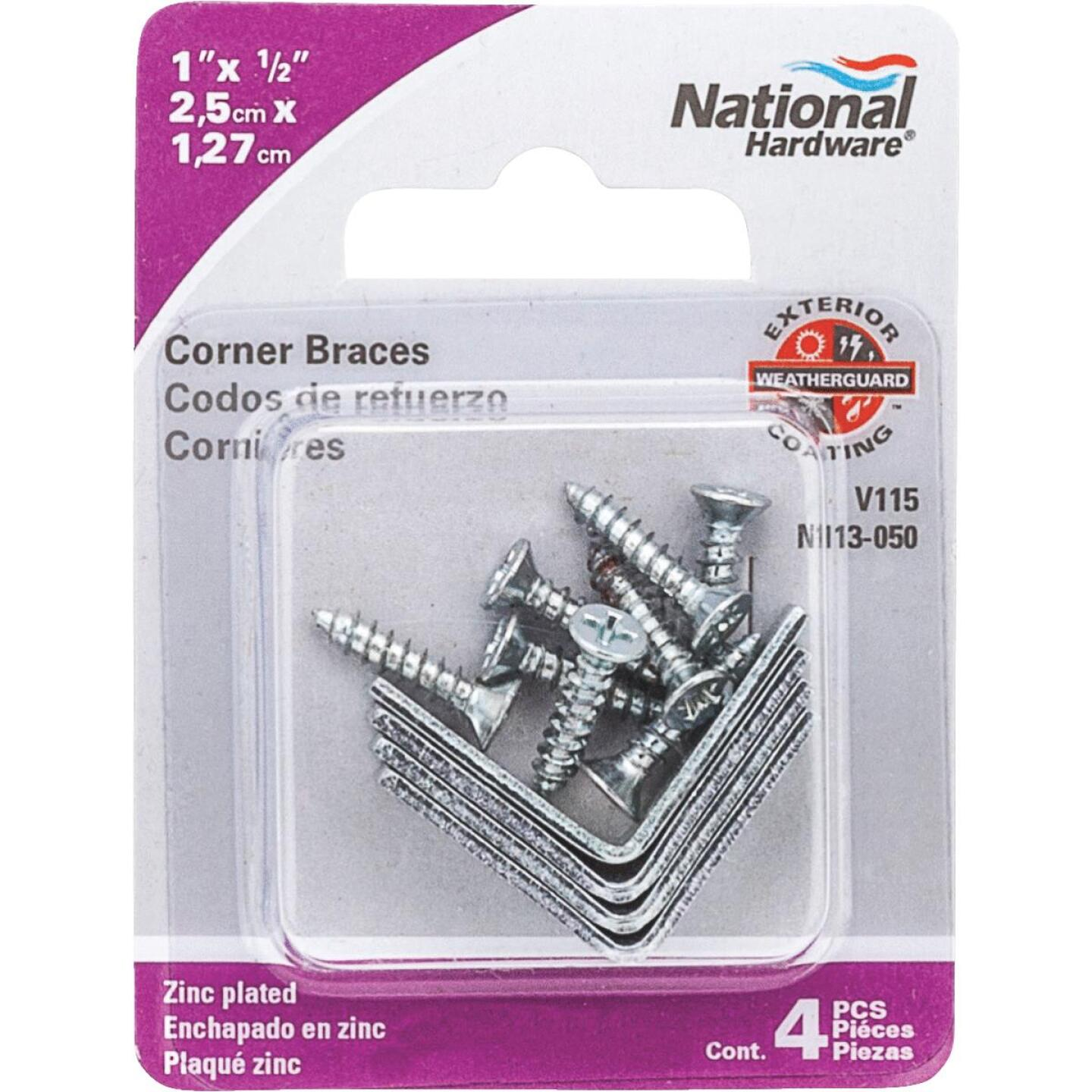 National Catalog V115 1 In. x 1/2 In. Zinc Steel Corner Brace (4-Count) Image 2
