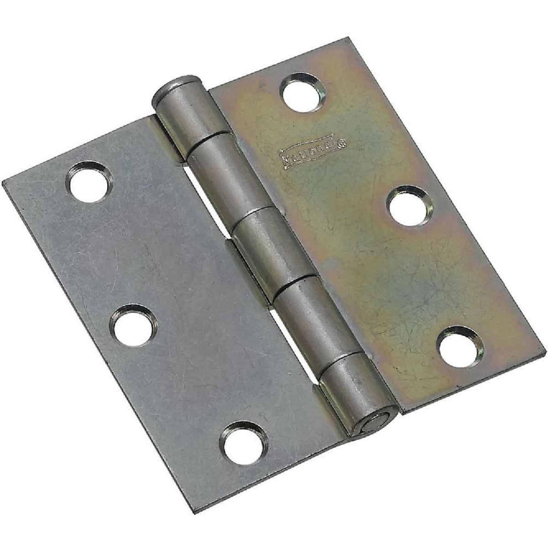 National 3 In. Square Zinc Plated Steel Broad Door Hinge (2-Pack) Image 1
