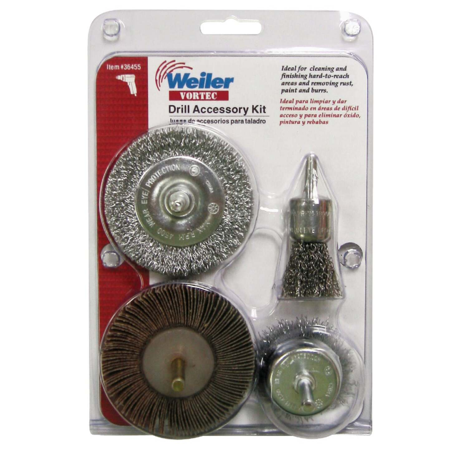 Weiler Vortec 4 pcs Abrasive Wheel & Brush Set Image 2