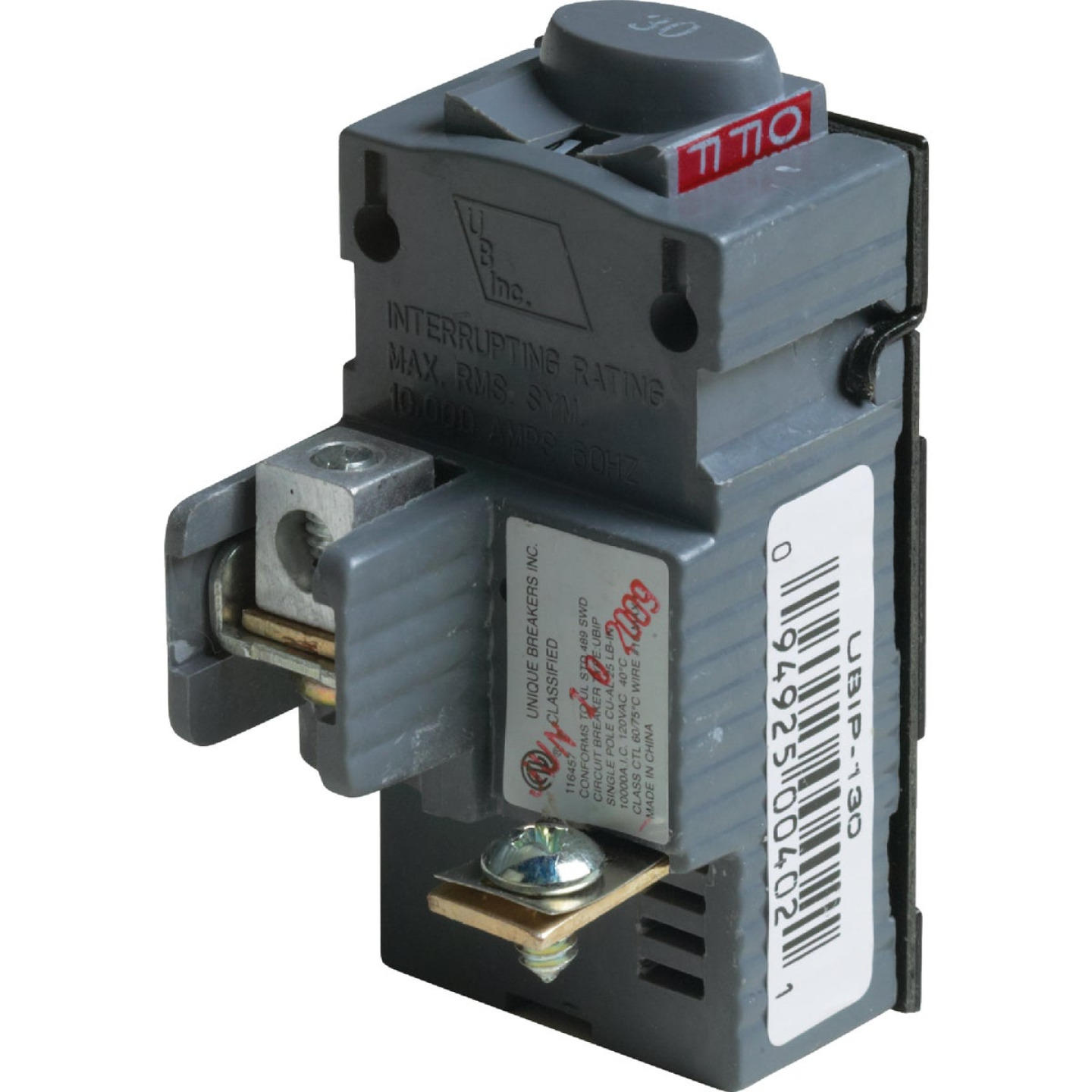 Connecticut Electric 30A Single-Pole Standard Trip Packaged Replacement Circuit Breaker For Pushmatic Image 1