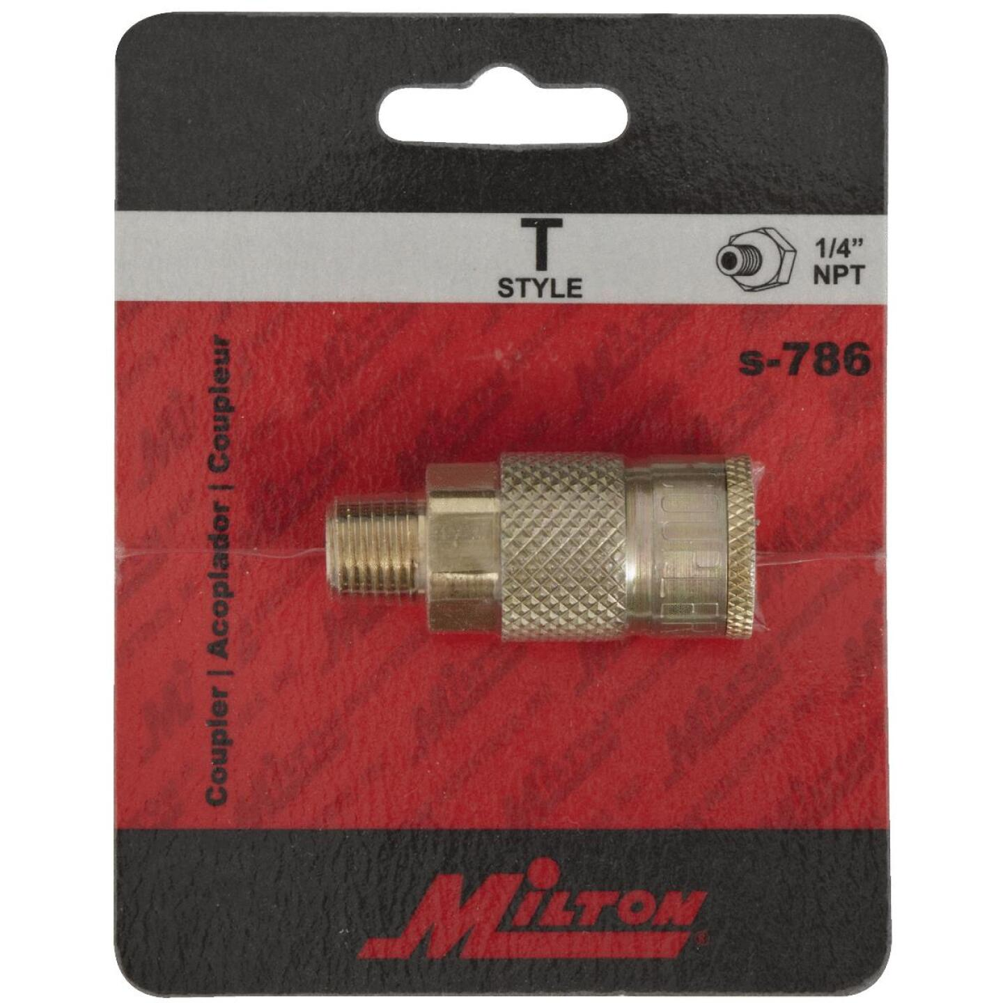 Milton Tru-Flate 1/4 In. MPT T-Style Brass Coupler Image 2