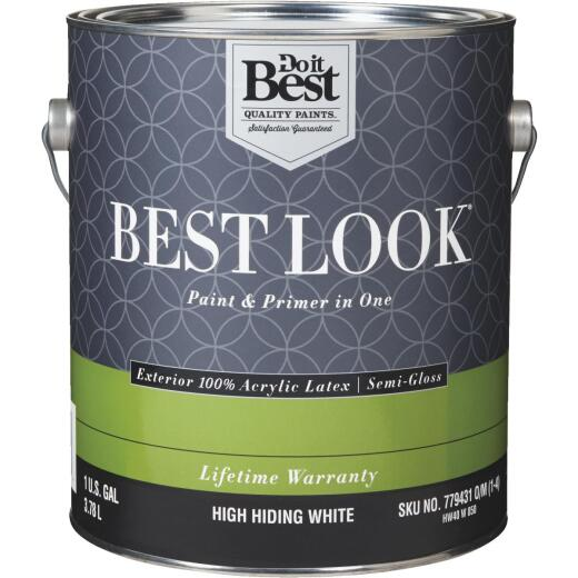 Best Look 100% Acrylic Latex Paint & Primer In One Semi-Gloss Exterior House Paint, High Hiding White, 1 Gal.